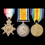 Great War 1914-1915 Star Trio awarded to Private H.G. Hare, Royal Sussex Regiment, who saw servic...