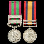 India Punjab Frontier and Tirah Field Force, and South Africa Boer War pair awarded to Private Jo...