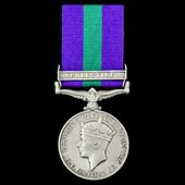 General Service Medal 1918-1962, GVI 1st type, 1 Clasp: Palestine awarded to Private A. Lomas, 1s...