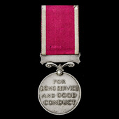 Regular Army Long Service and Good Conduct Medal, GVI 1st type bust, awarded to Sergeant L. Olney...