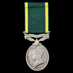Efficiency Medal, GVI 1st type bust, Territorial suspension, awarded to Corporal R.E. Sparks, Ess...