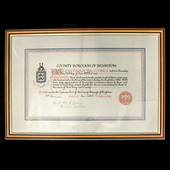 A rare Great War County Borough of Brighton War Service Scroll, issued to Mr William E. Girling, ...