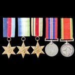 A Second World War South African Naval Force Atlantic Star grouping awarded to Steward J.S. Verme...