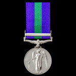 General Service Medal 1918-1962, GVI 1st type bust, 1 Clasp: Palestine, awarded to Private E. Pea...