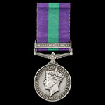 General Service Medal 1918-1962, GVI, 1 Clasp: Palestine 1945-48 awarded to Trooper A.R. Lawson, ...