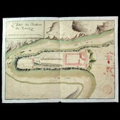 """French Napoleonic Conquest of Italy 1796 Hand drawn and coloured map and plan of the """"Chateau de ..."""