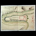 "French Napoleonic Conquest of Italy 1796 Hand drawn and coloured map and plan of the ""Chateau de ..."