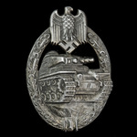 Germany - Third Reich: Tank Battle Badge in Bronze, pressed metal version, needle pin reverse, no...