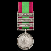 Afghanistan Medal 1878-1880, 3 Clasps: Peiwar Kotal, Charasia, Kabul, awarded to Private Andrew Y...