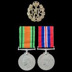 Second World War Home Service pair awarded to a W. Saunders, of Redhill, Surrey, who saw service ...