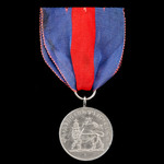 Ethiopia - Menelik II silver grade medal. Circular white metal medal with ring and loop. The face...