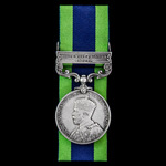 India General Service Medal 1908-1935, 1 Clasp: North West Frontier 1930-31 awarded to Private T....