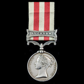 A fine officer's Indian Mutiny Medal 1857-1859, 1 Clasp, Lucknow awarded to Major G.F.C. Fitzgera...