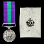 General Service Medal 1918-1962, GVI 2nd type bust, 1 Clasp: Palestine 1945-48, with named card b...