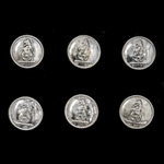 Livery Buttons, set of six, silver brass, with what appears to be a lions head surmounting a rose...