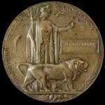 Great War Memorial Plaque named to Thomas Henry Hern, a Driver with the Army Service Corps in the...