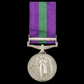General Service Medal 1918-1962, GVI, 1 Clasp: Palestine awarded to Private W. Simpson, 2nd Batta...