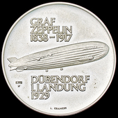 Switzerland: Commemorative Medal for the Landing of the Airship LZ 127 'Graf Zeppelin' at Dübendo...