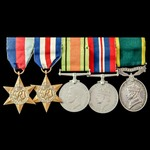 Second World War North West Europe and Territorial long service group awarded to Gunner E.P. Hous...