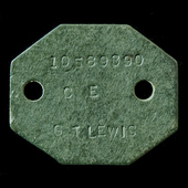 Second World War identity disc stamped: '10589690 G T LEWIS CE', as worn by one G.T. Lewis (No.10...