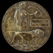 Great War Western Front Memorial Plaque named to Francis Fowler, a Private in the Royal Army Medi...