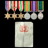 Second World War North Africa 8th Army and Italy and Territorial long service group awarded to Se...