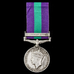 General Service Medal 1918-1962, GVI, 1 Clasp: Palestine 1945-48 awarded to Private F.S. Atcherle...