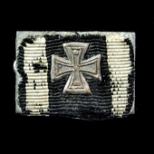 Germany - Imperial: Tunic ribbon bar for a recipient of the Iron Cross 1914 2nd Class - with atta...