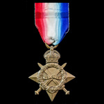 1914-1915 Star awarded to Private W.E. Jennings, 7th Battalion, Northamptonshire Regiment who was...