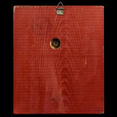 Germany - Third Reich: Adolf Hitler portrait wall plaque, cast aluminium on red painted rectangul...
