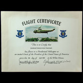 United States of America Presidential Helicopter Official Flight Certificate, issued to Lieutenan...
