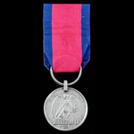 Waterloo Medal 1815, fitted with modified larger steel clip and split ring suspension, awarded to...