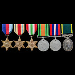 Second World War Middle East and Italian Campaign and Territorial long service group awarded to G...