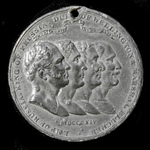 ​  Napoleonic War Pewter Commemorative Medallion for the Treaty of Paris signed on 30th May 1814 ...