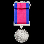The unique Waterloo Medal 1815, fitted with modified hinged silver clip and straight bar suspensi...