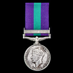General Service Medal 1918-1962, GVI, 1 Clasp: Palestine 1945-48 awarded to Private K. Harvey, 4t...