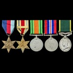 Second World War North Africa 8th Army and Territorial long service group awarded to Private D. M...