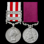 Indian Mutiny Siege of Delhi and Lucknow Casualty and long service pair awarded to Private Denis ...