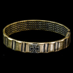 Germany - Imperial: Iron Cross 1914 Patriotic Hinged Bracelet, formed from the brass driving band...