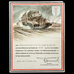 Germany – Third Reich: A rare decorative certificate awarded to Obergefreiter Erwin Molck, 4th Co...