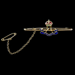 Indian Army 11th Rajputs Tie Pin, King's Crown, gold and enamels, with 15 carat gold mark. Circa ...