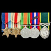 Second World War Middle East 1942 Mention in Despatches and Territorial long service group awarde...