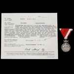A Scarce award of The Order of Zvonimir Medal in Silver and its original recommendation to Oberja...