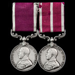 Great War Solonica operations Army Long Service and Army Meritorious Service Medal pair awarded t...