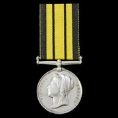 An interesting Officer's Ashantee Medal 1873-1874, no clasp, awarded to Sub Lieutenant A.S. Pring...