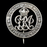 Silver War Badge, reverse numbered 'B97800' as awarded to Private Walter P. Laister, East Yorkshi...