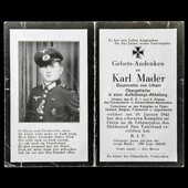 Germany - Third Reich: A 4 page Memorial Card for a decorated German Soldier killed during the wa...