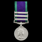 Campaign Service Medal 1962, 3 Clasps: Borneo, Radfan, South Arabia, awarded to Sapper P. Nall, R...