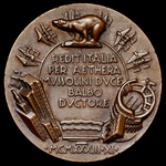 Italy: Crociera Aerea del Decennale - Decennial Air Cruise 1933 Medallion, bronze medal by the sc...