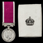 Regular Army Long Service and Good Conduct Medal, GVI 2nd type bust, with named card box of issue...
